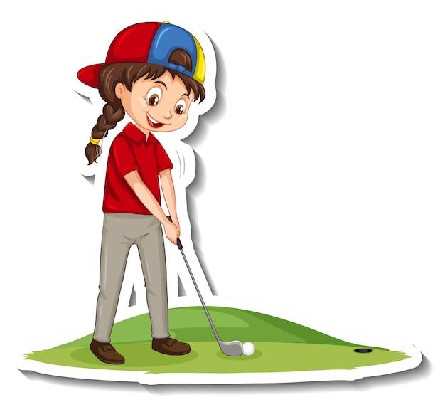 Sticker van stripfiguur met een meisje dat golf speelt