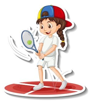 Sticker van stripfiguur met een meisje dat tennis speelt