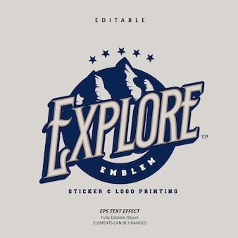 Sticker vintage verkennen logo embleem afdrukken teksteffect bewerkbare premium vector
