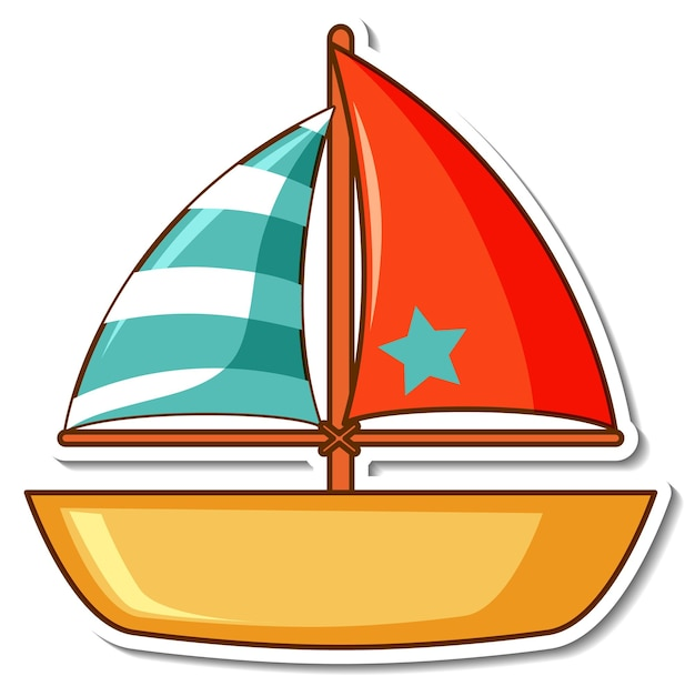 Sticker zeilboot speelgoed op witte achtergrond