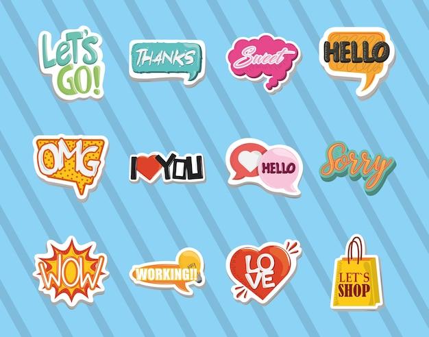 Stickerbadges, inspirerende citaten, leuke cartoon iconen vector illustratie