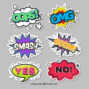 Stickercollectie in komische stijl Gratis Vector