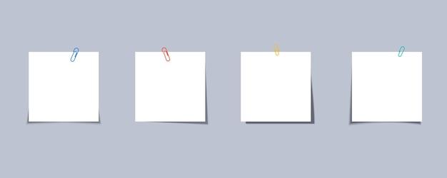 Stickernota met clip. sticker met paperclip. memo kleverige nota met paperclip. paperclip met notitiepapier