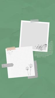 Stickernota vector memonota in de stijl van memphis, geplakt op groene achtergrond