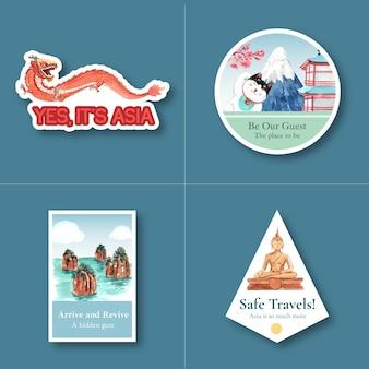 Stickerontwerp met azië reisconcept voor karakterbeeldverhaal geïsoleerde waterverf vectorillustratie