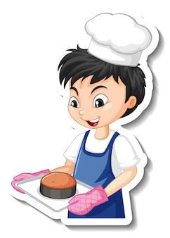 Stickerontwerp met bakkersjongen die een gebakken dienblad vasthoudt
