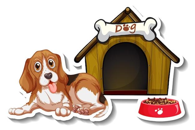 Stickerontwerp met beagle die voor het hondenhok staat