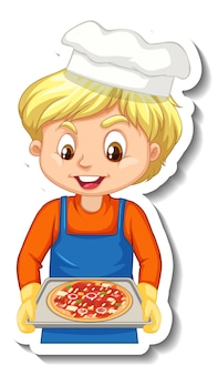 Stickerontwerp met chef-kok die pizzablad vasthoudt