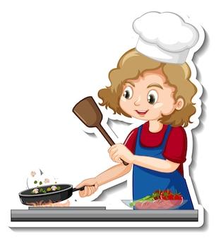 Stickerontwerp met chef-kok meisje koken voedsel stripfiguur