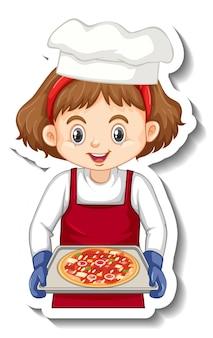 Stickerontwerp met chef-kokmeisje met pizzablad