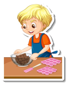 Stickerontwerp met een bakkersjongen die een chocoladekom vasthoudt