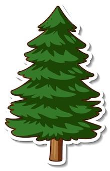 Stickerontwerp met een geïsoleerde spar of dennenboom