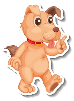 Stickerontwerp met een hond in staande pose geïsoleerd