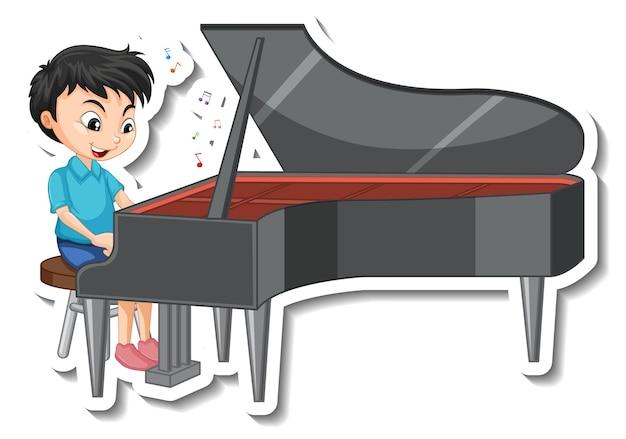 Stickerontwerp met een jongen die piano speelt