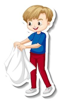 Stickerontwerp met een jongen die zijn jas uittrekt, geïsoleerd