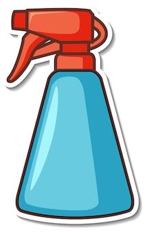 Stickerontwerp met een reinigingssprayfles geïsoleerd