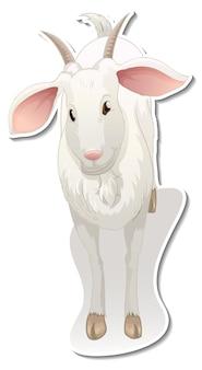 Stickerontwerp met een stripfiguur van een geit