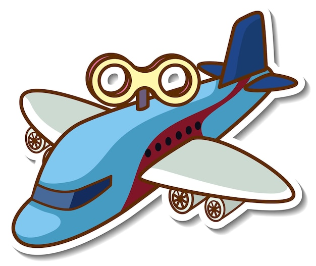 Stickerontwerp met geïsoleerd vliegtuig