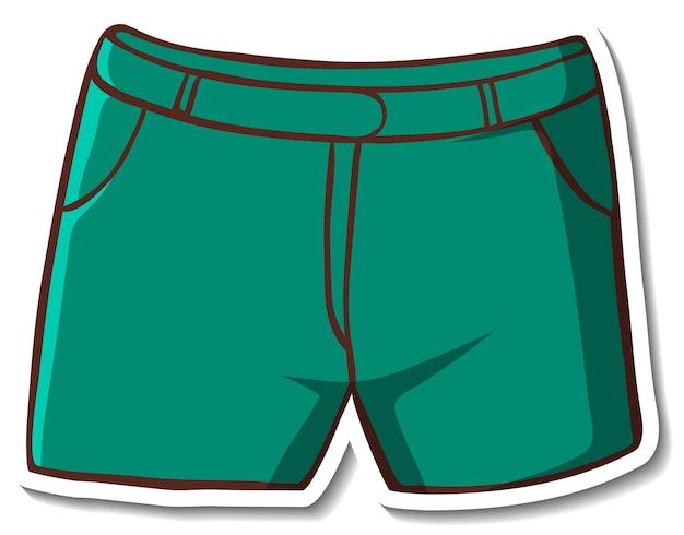 Stickerontwerp met groene korte broek geïsoleerd