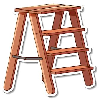 Stickerontwerp met houten trappen geïsoleerd