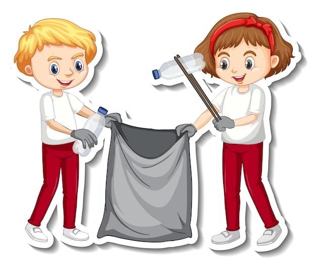 Stickerontwerp met kinderen die afval verzamelen