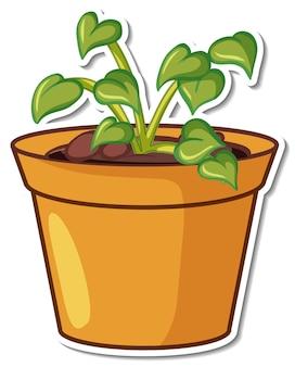 Stickerontwerp met plant in een geïsoleerde pot