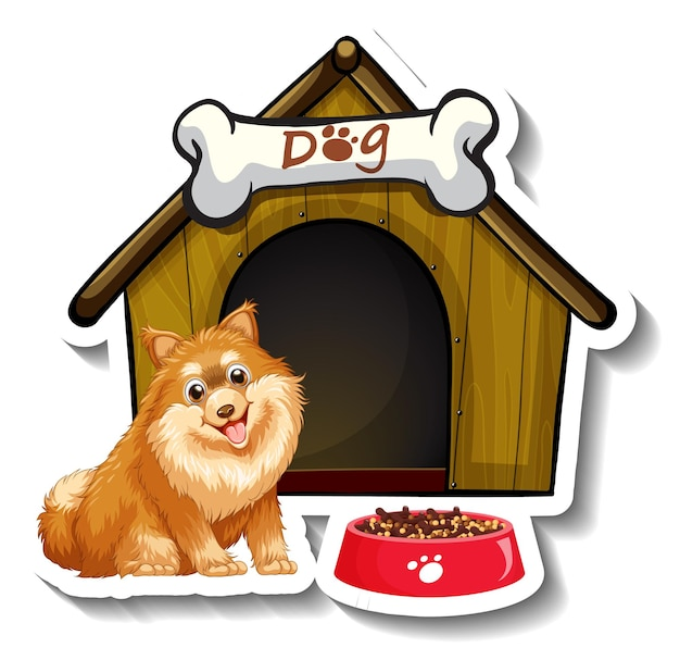 Stickerontwerp met pomeriaan die voor het hondenhok staat