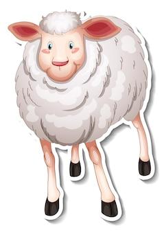 Stickerontwerp met schattige schapen stripfiguur