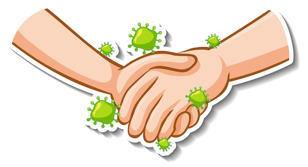 Stickerontwerp van handen die samen met coronavirusteken worden gehouden