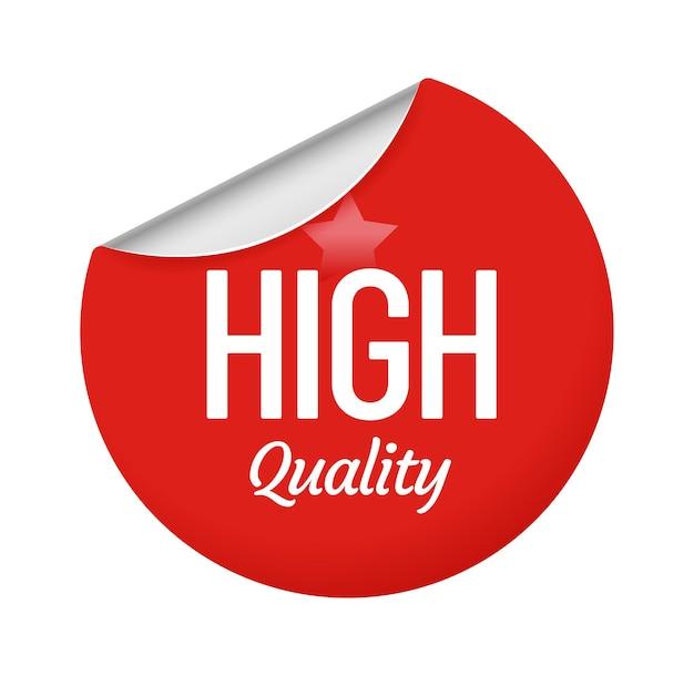 Stickerontwerp van hoge kwaliteit met ster. rood rond label met gekrulde rand. cirkel papieren badge voor handelscampagne, aanbieding voor consument geïsoleerd op witte embleem cartoon vectorillustratie