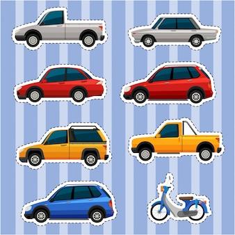 Stickerontwerp voor verschillende soorten voertuigen
