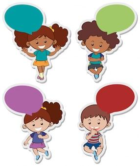 Stickerontwerpen met schattige jongens en meisjes