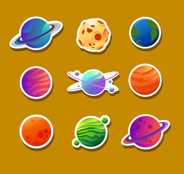 Stickerontwerpen van verschillende planeten