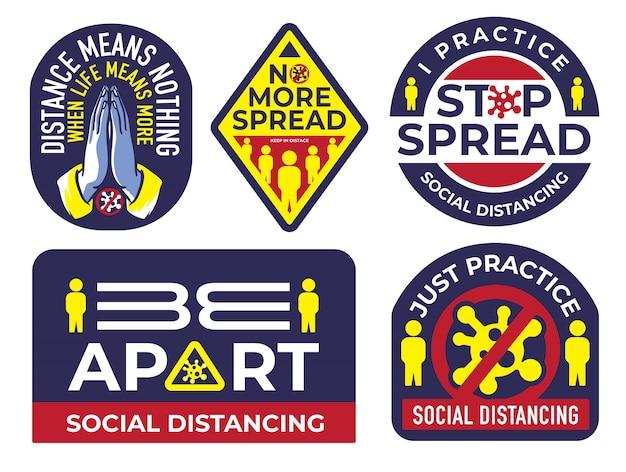 Stickerpakket van sociaal afstandsidee