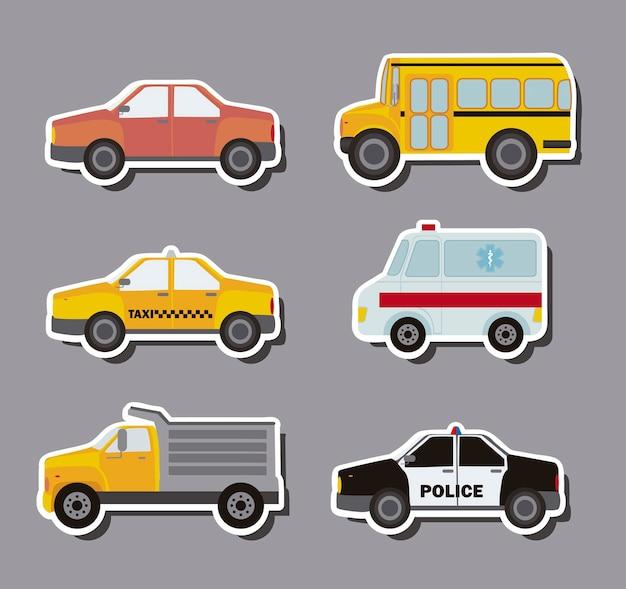 Stickers auto's over grijze achtergrond vectorillustratie