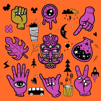 Stickers hand getrokken doodle tattoo-stijl