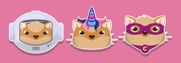 Stickers met dikke katten grote reeks op geïsoleerde achtergrond