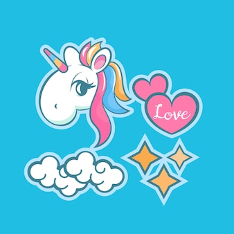 Stickers met eenhoorn, regenboog, ster, wolk, toverstaf