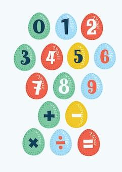 Stickers nummer op eieren set