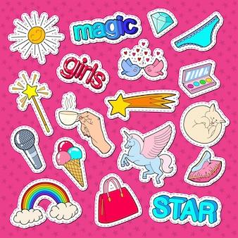 Stickers, patches en badges in tienermeisje-stijl met regenboog