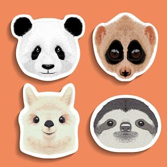 Stickers set panda luiaard alpaca lama