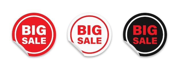 Stickers set ronde adhasive rode labels met grote verkooptekst