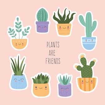 Stickers set van schattige vetplanten cactus met lachend gezicht