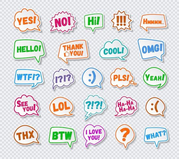 Stickers van tekstballonnen die met teken worden geplaatst
