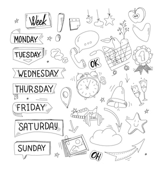 Stickers voor weekplanner maandag dinsdag vrijdag zondag doodle en plat ontwerp tijdschema