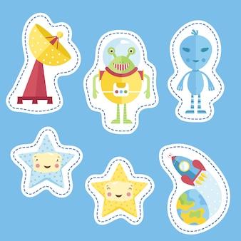 Stickerscollectie met ruimtecartoons