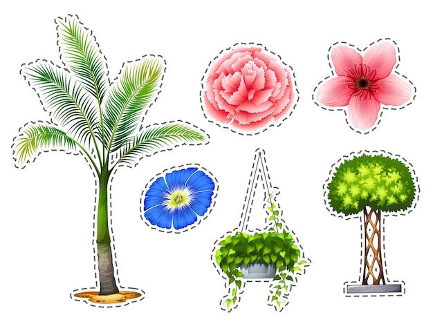 Stickerset met verschillende soorten planten