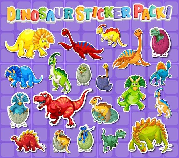 Stickerset met verschillende soorten stripfiguren van dinosaurussen