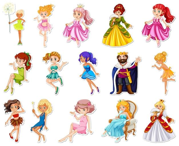 Stickerset met verschillende sprookjesachtige stripfiguren