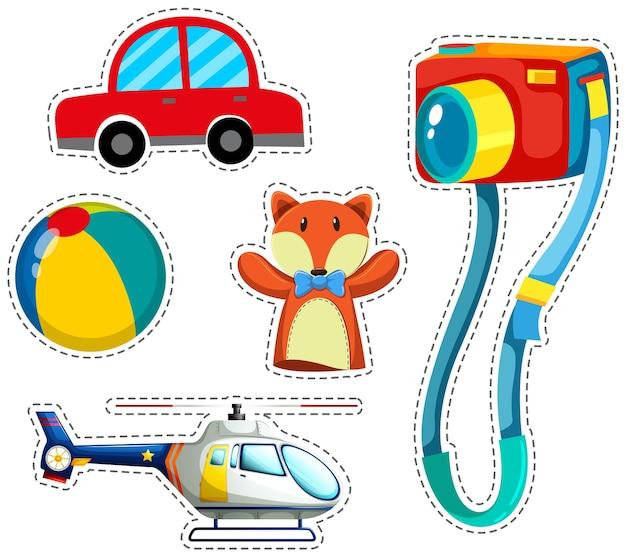 Stickerset van kleurrijk speelgoed